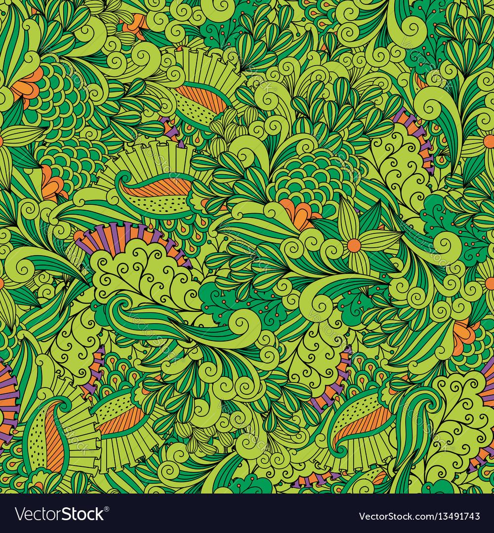 Green zentangle leaves ornamental pattern