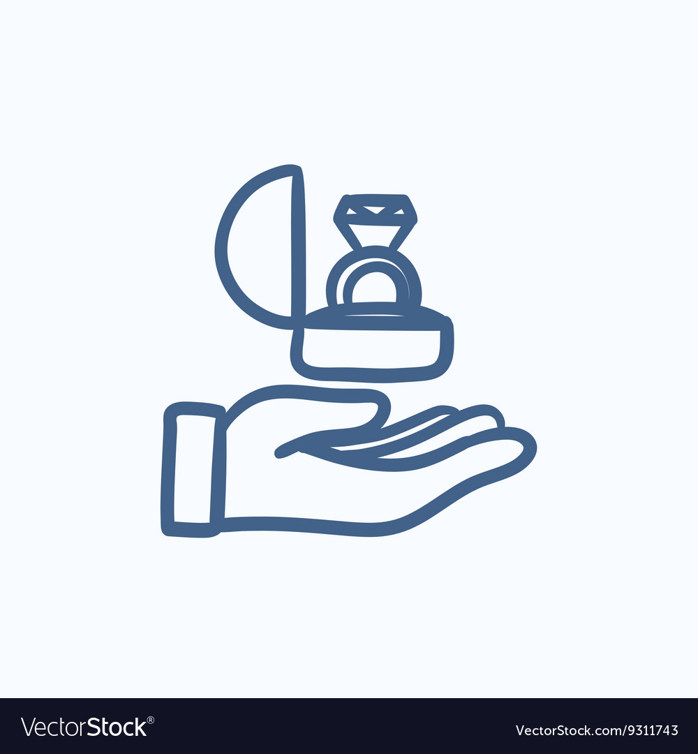 Hand holding gift box with ring sketch icon vector image
