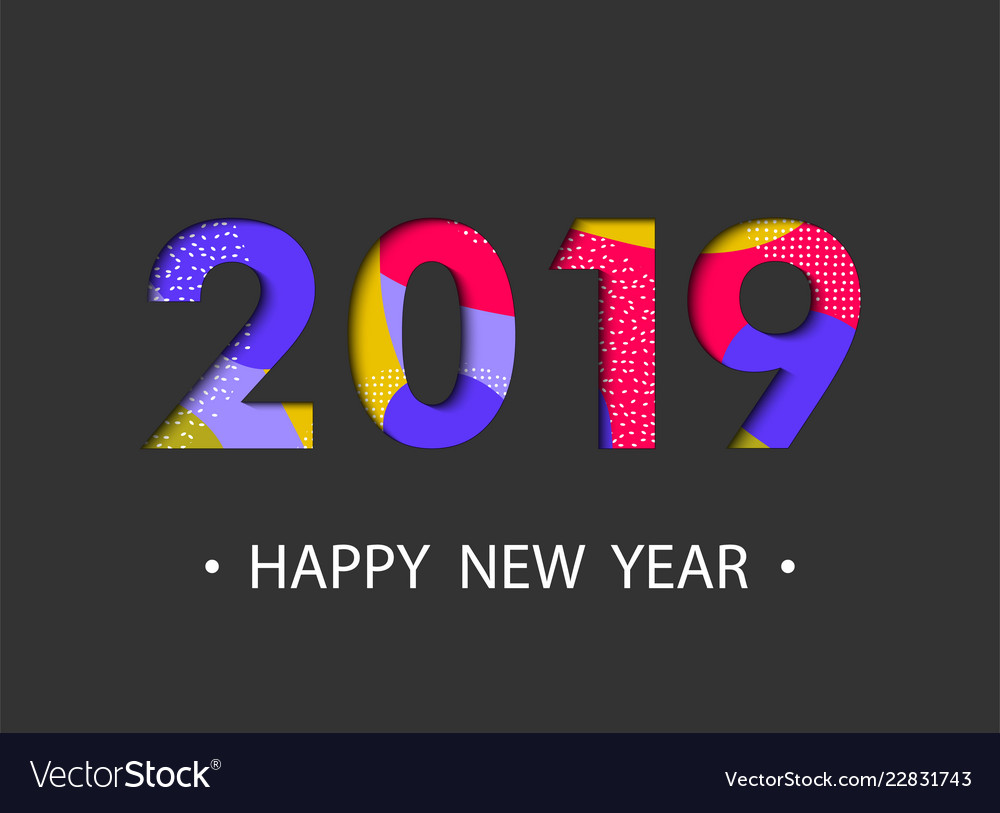 Happy new year 2019 background with cartoon effect