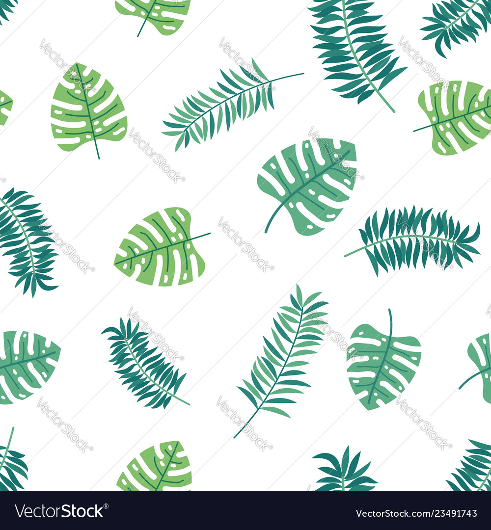 Loral paradise tropic seamless pattern with green