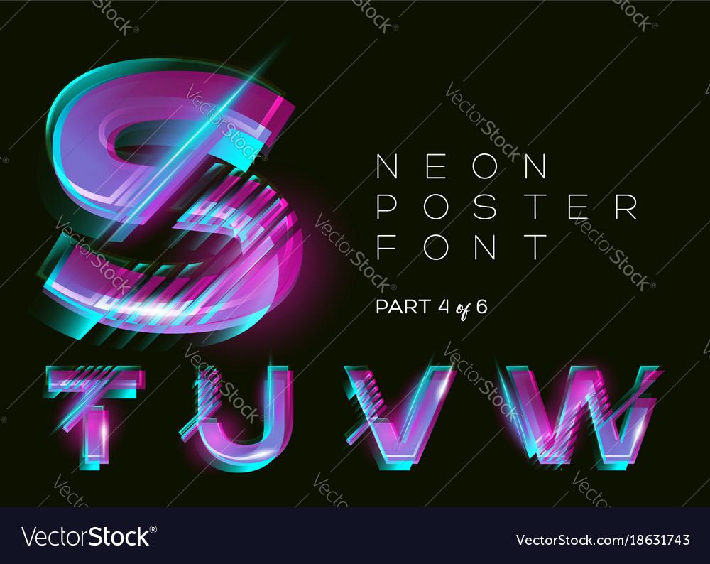 Neon typeset shining trendy letters fluorescent