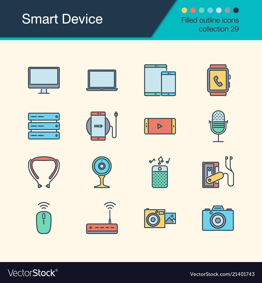 Smart device icons filled outline design