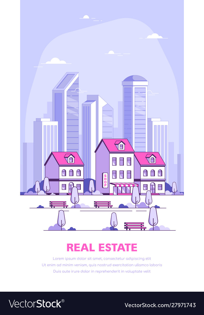 Urban landscape flat style banner