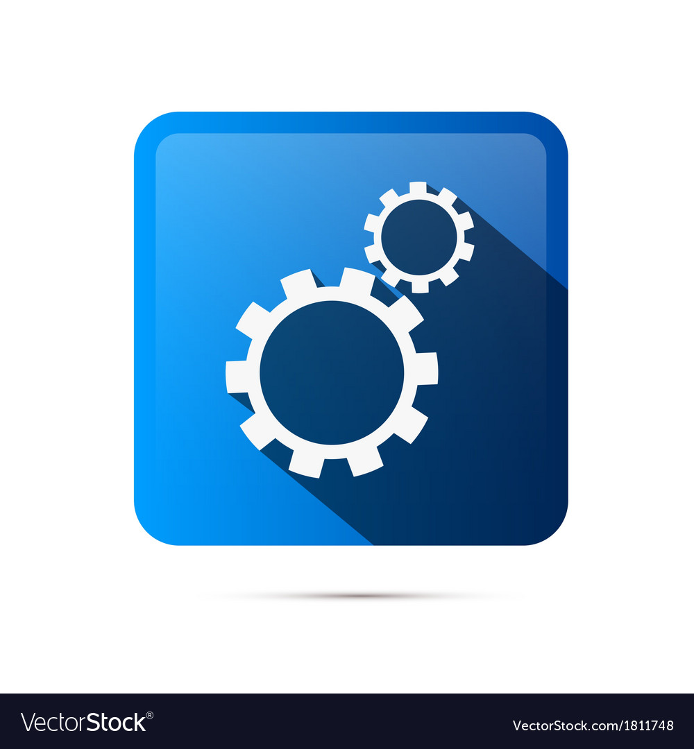 Blue Square Cogs Gears Icon