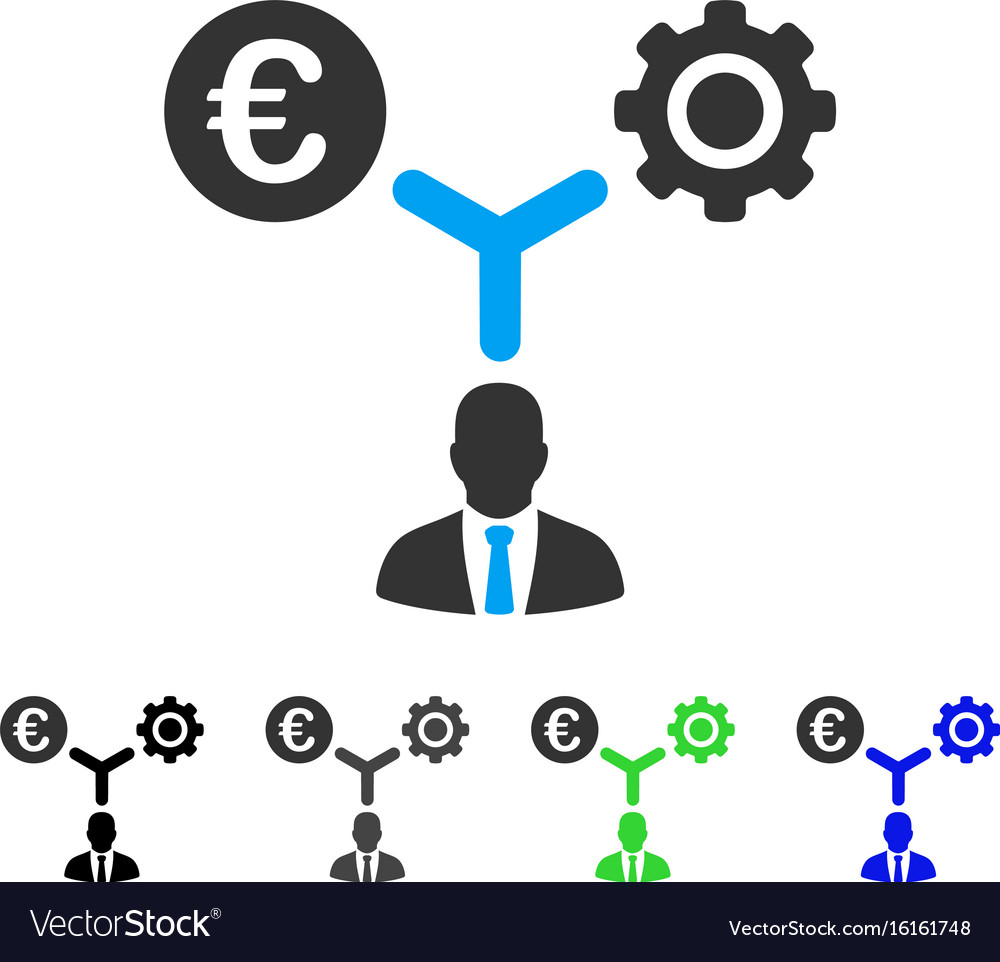 Euro financial development flat icon vector image