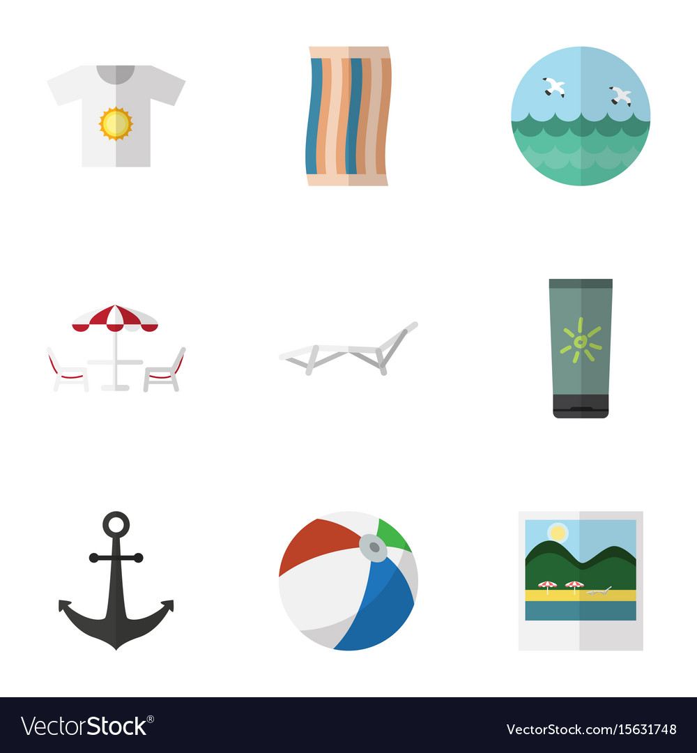 Flat icon beach set of deck chair clothes ocean