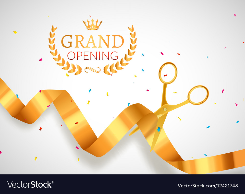 grand opening invitation banner golden ribbon cut vector image