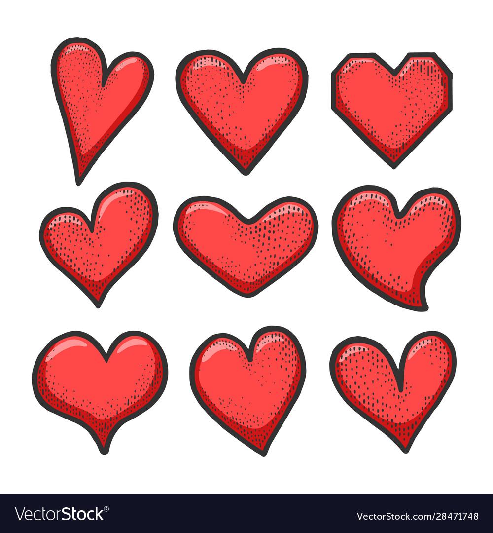 Heart symbol set sketch engraving