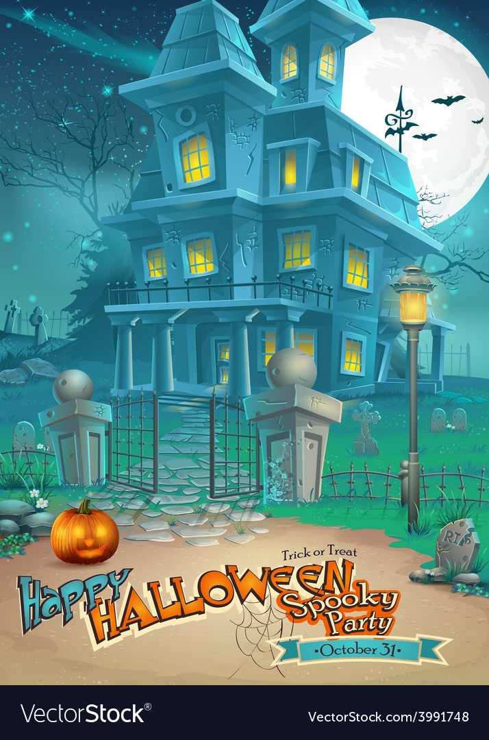 Holiday card with a mysterious Halloween haunted