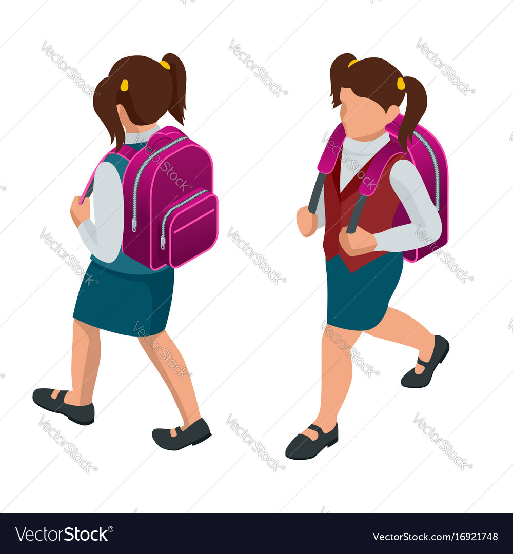 Isometric girl back to school concept a student