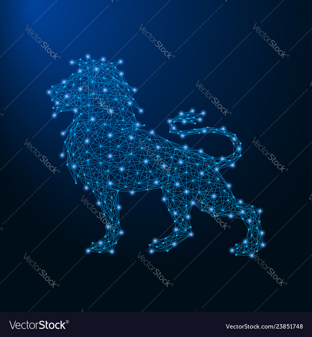 Lion made by points and lines polygonal wireframe