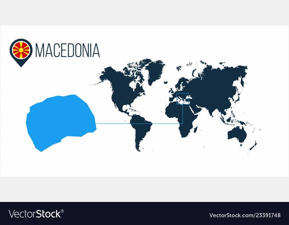 Macedonia Location On The World Map For Royalty Free Vector