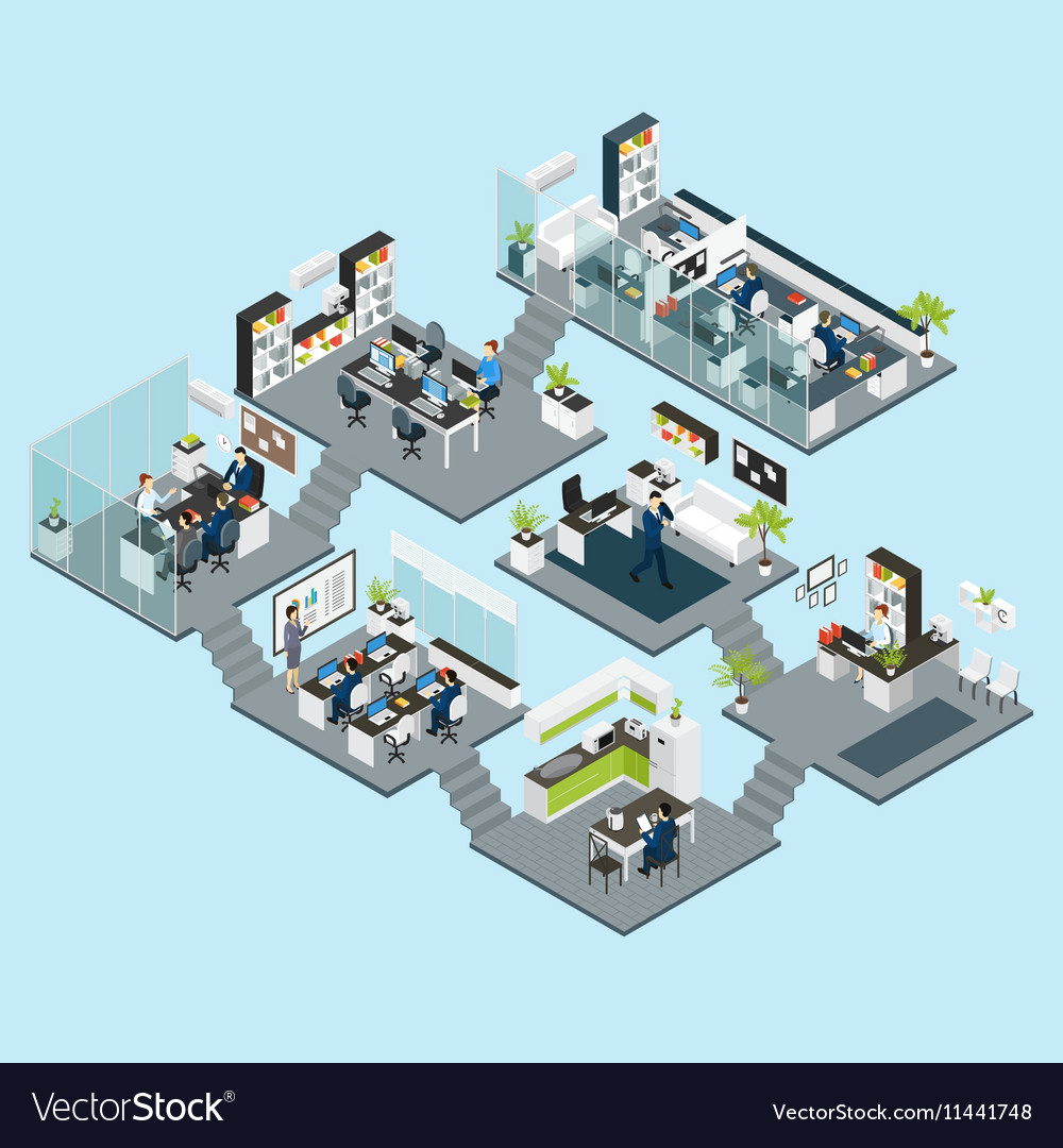 Office Isometric Different Floors