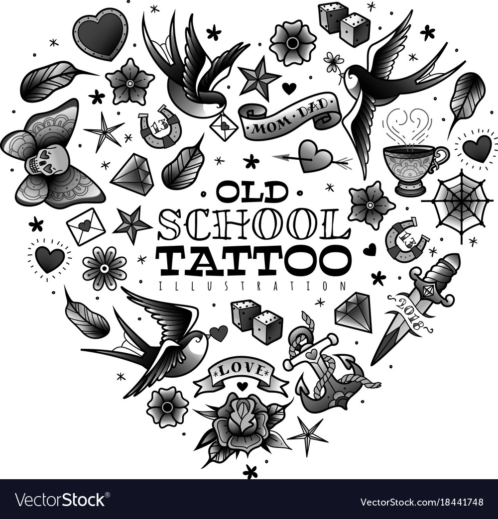 Old school tattoo set