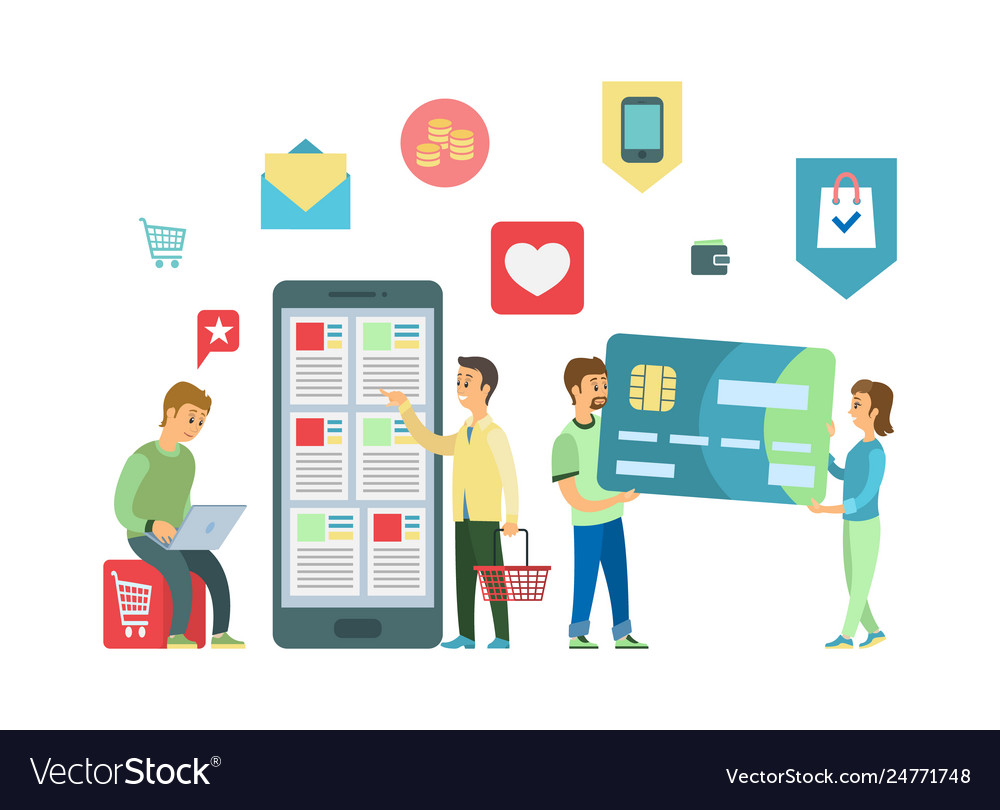 Online shopping mobile app smartphone and laptop