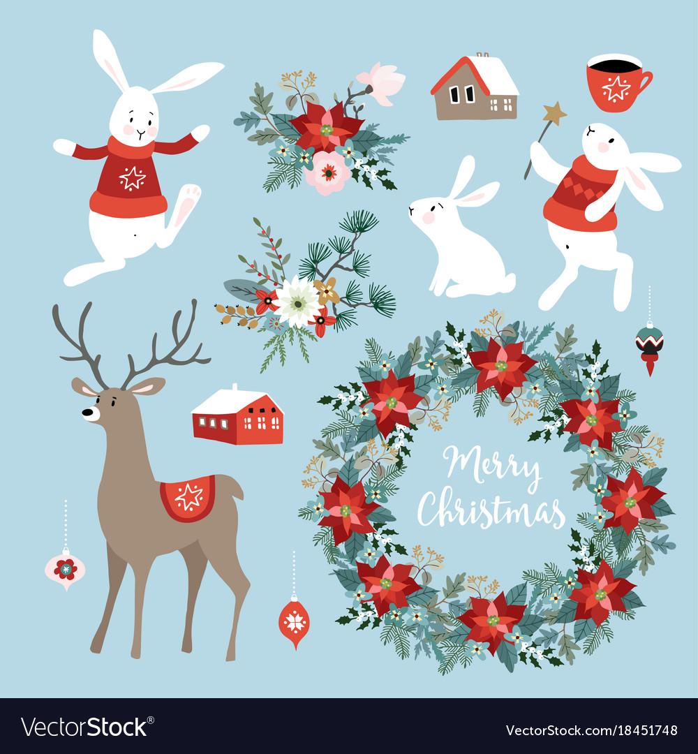 Cute Christmas Clip Art.Set Of Cute Christmas Clip Arts With Bunnies