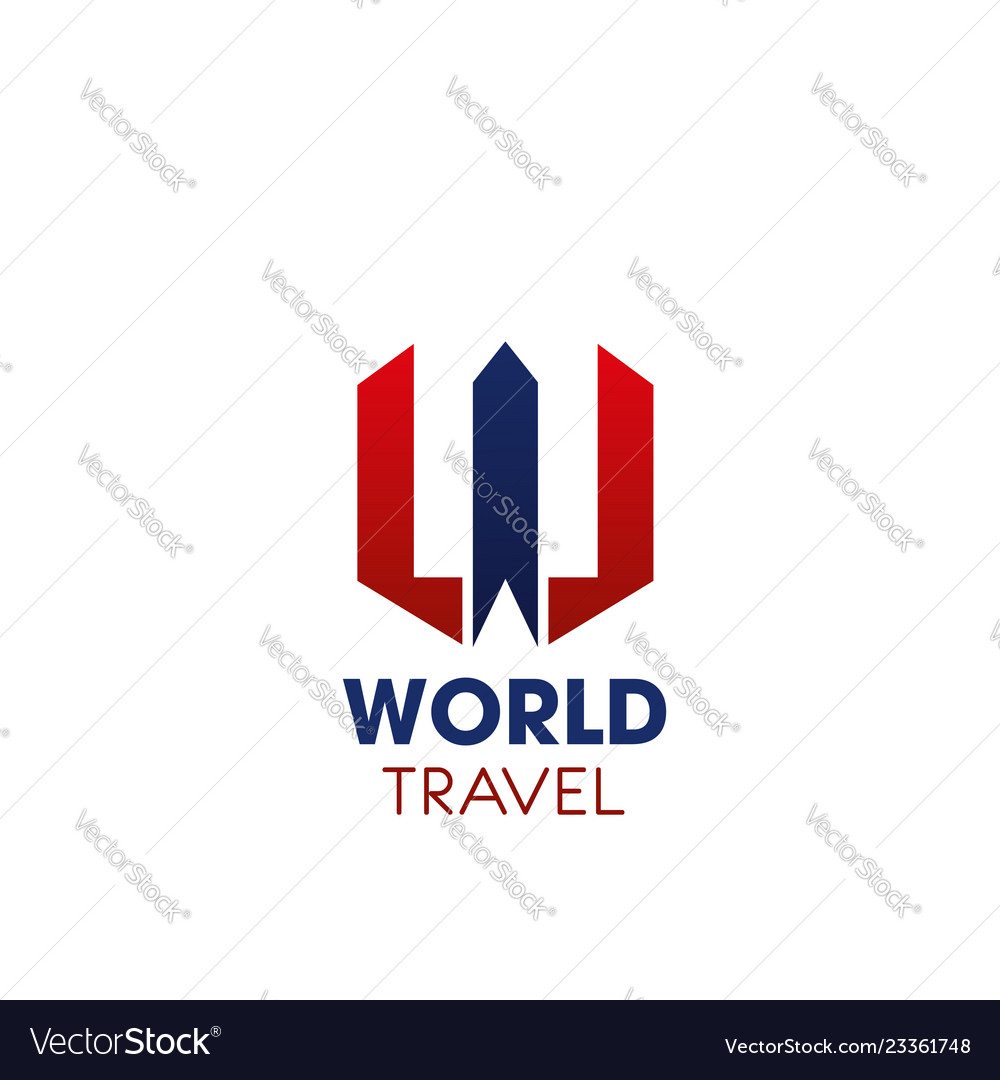 W letter icon for world travel company