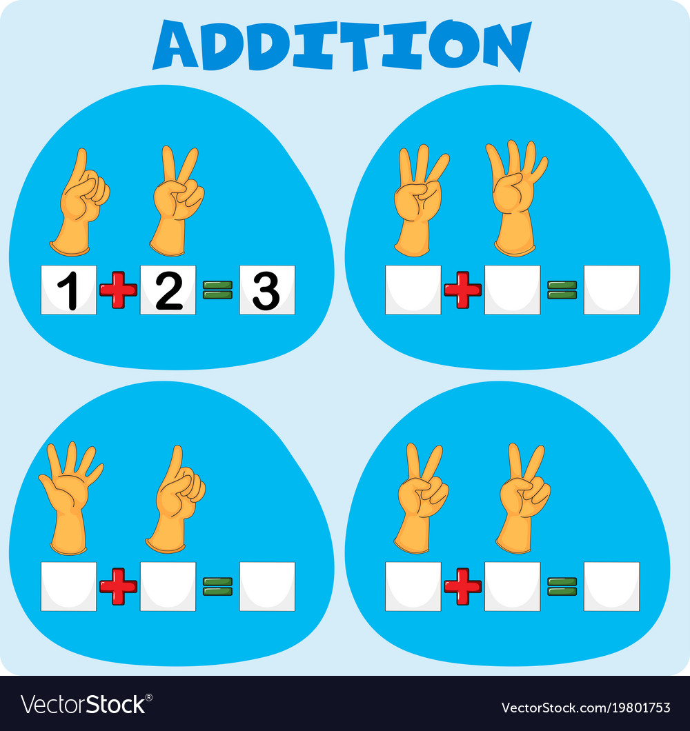 Addition worksheet with fingers Royalty Free Vector Image