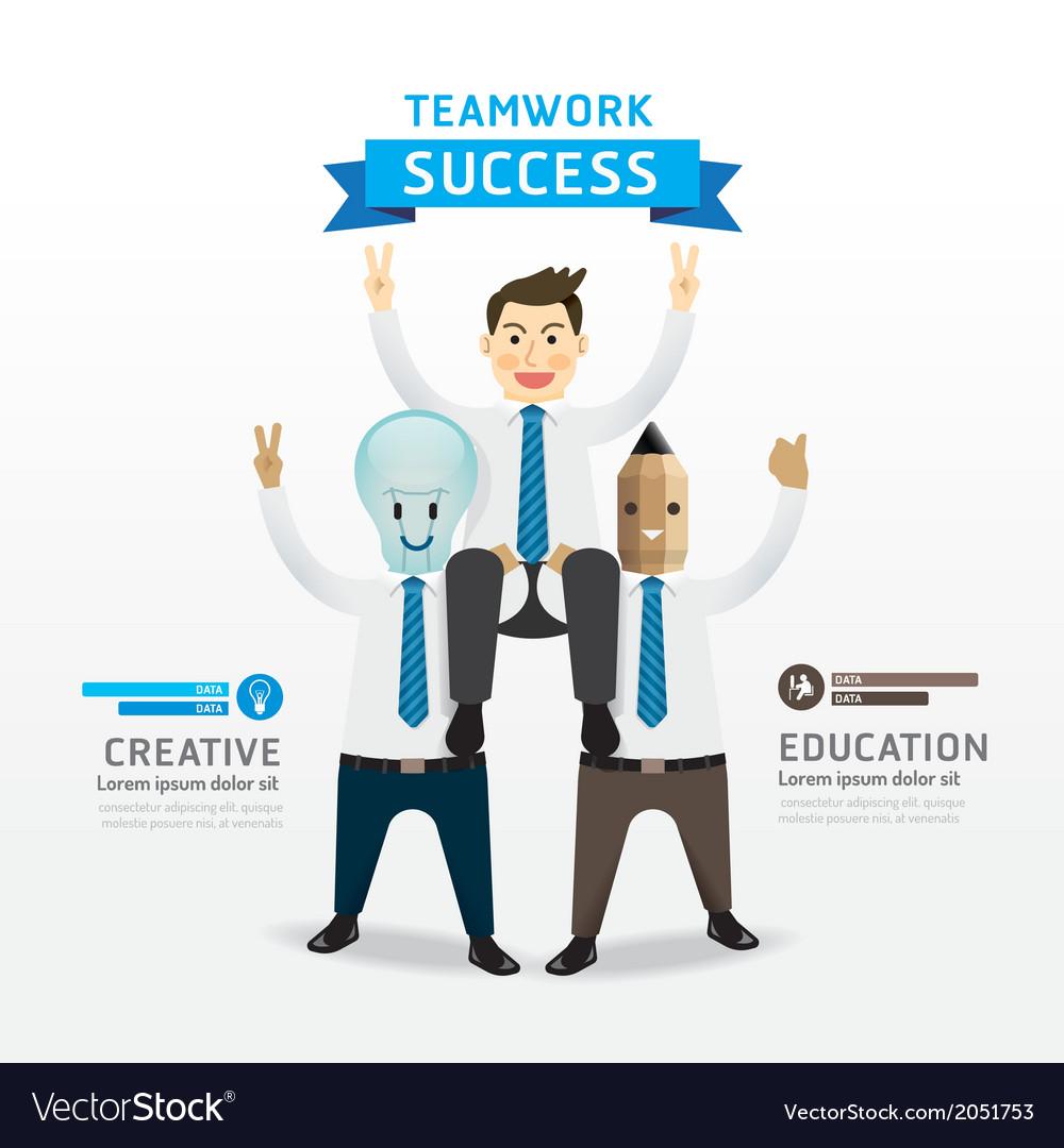 Businessman cartoon Infographic Teamwork of succes vector image