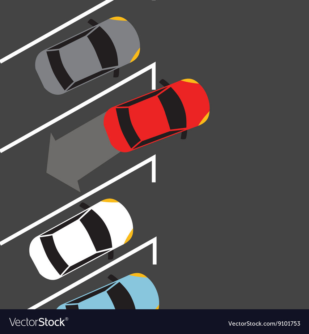 Car parking from top above find space automatic vector image