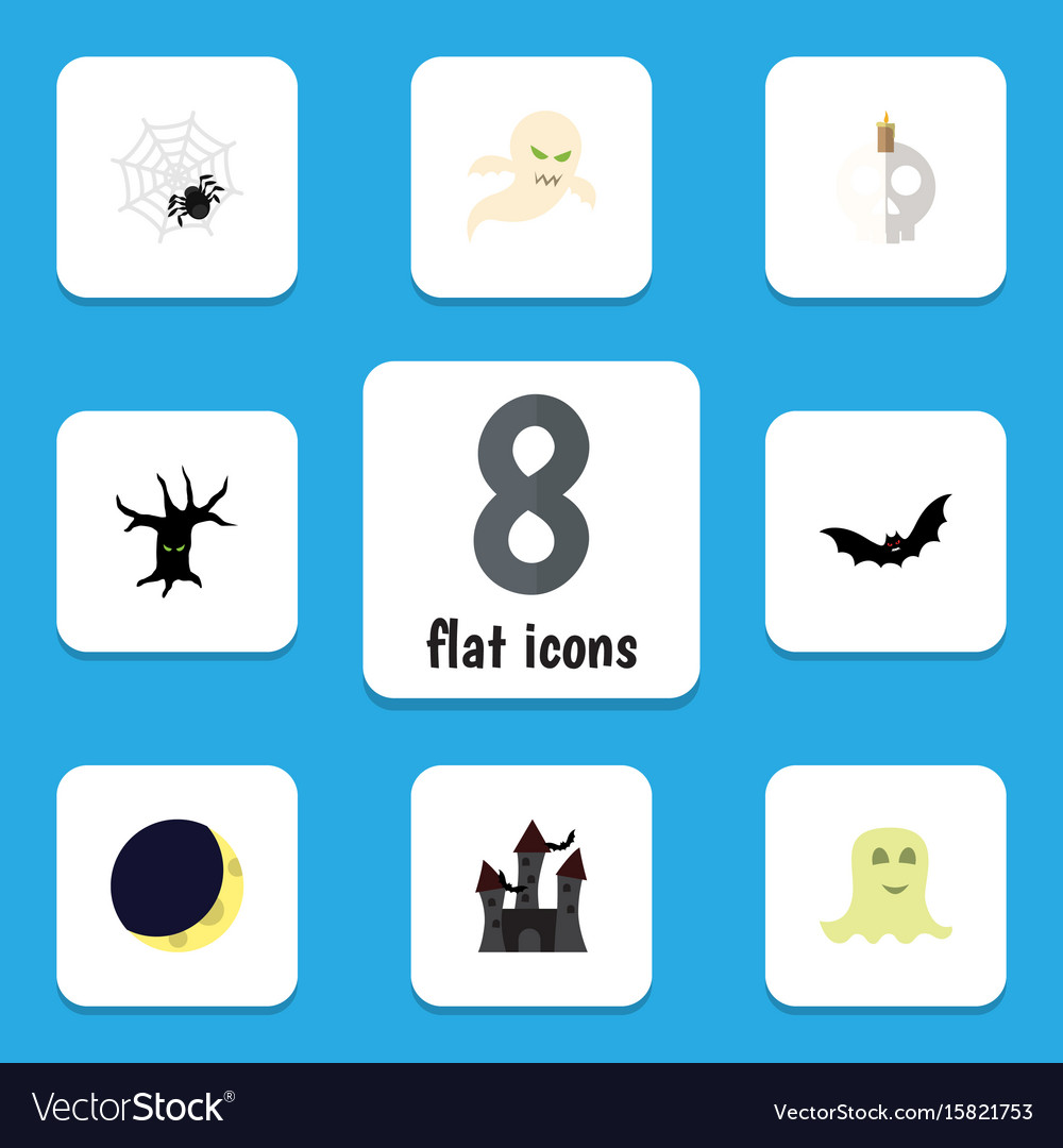 Flat icon halloween set of spinner crescent