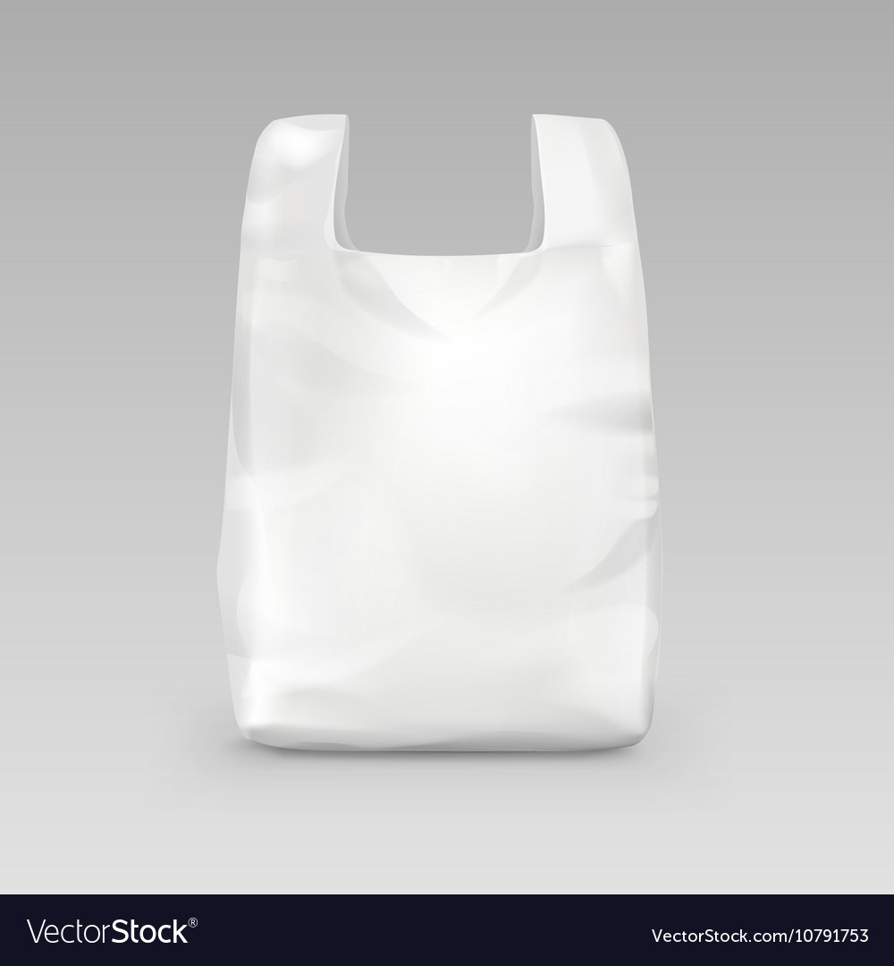 Plastic Shopping Bag with Handles on Background vector image