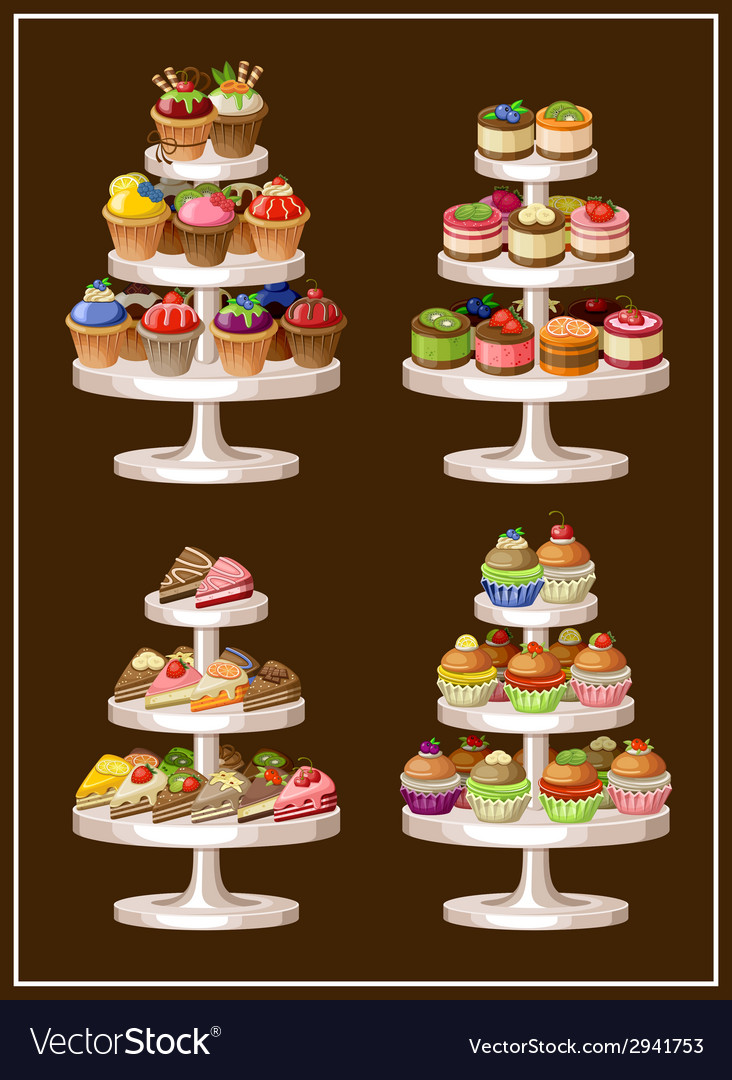 Set of sweets on plates vector image