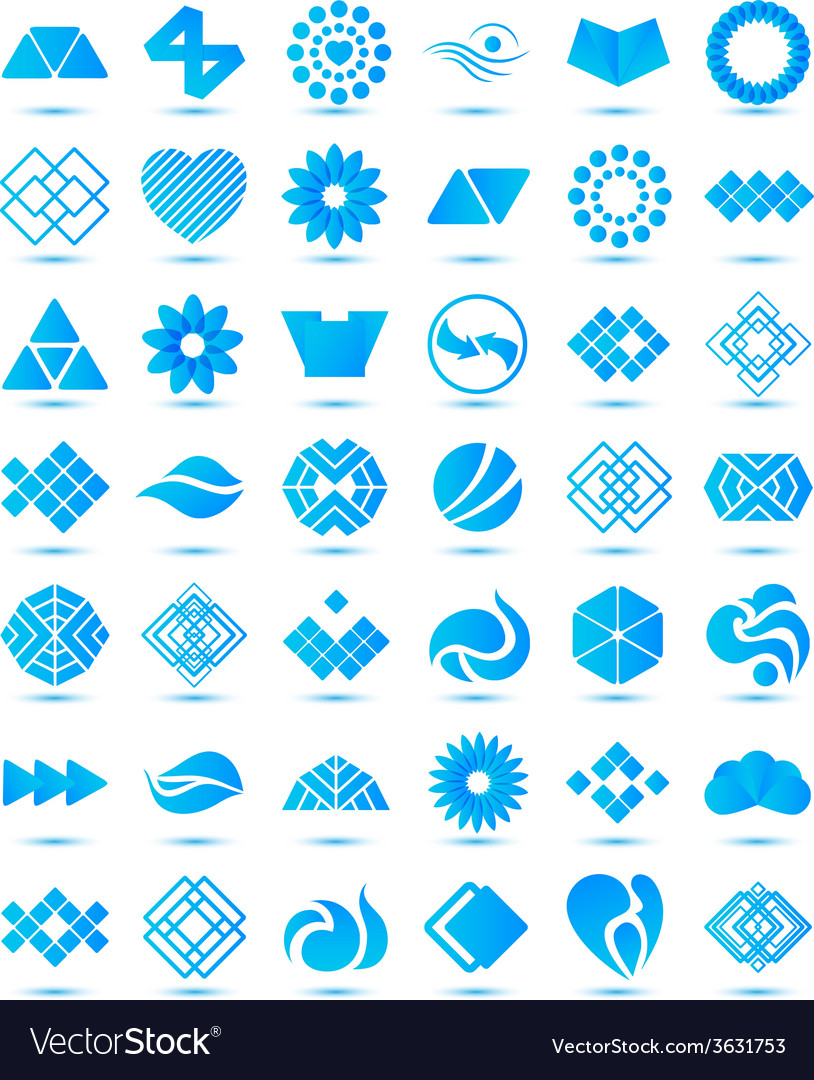 Set of various geometrical abstract icons signs vector image