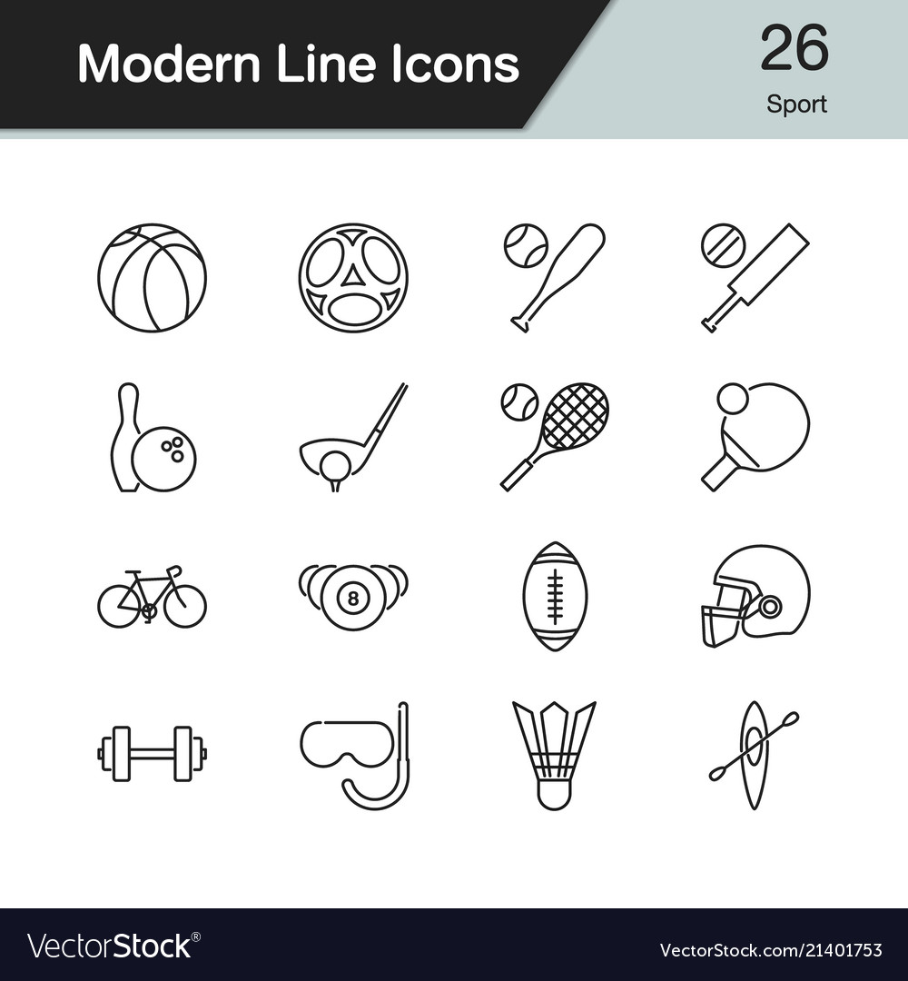 Sport icons modern line design set 26