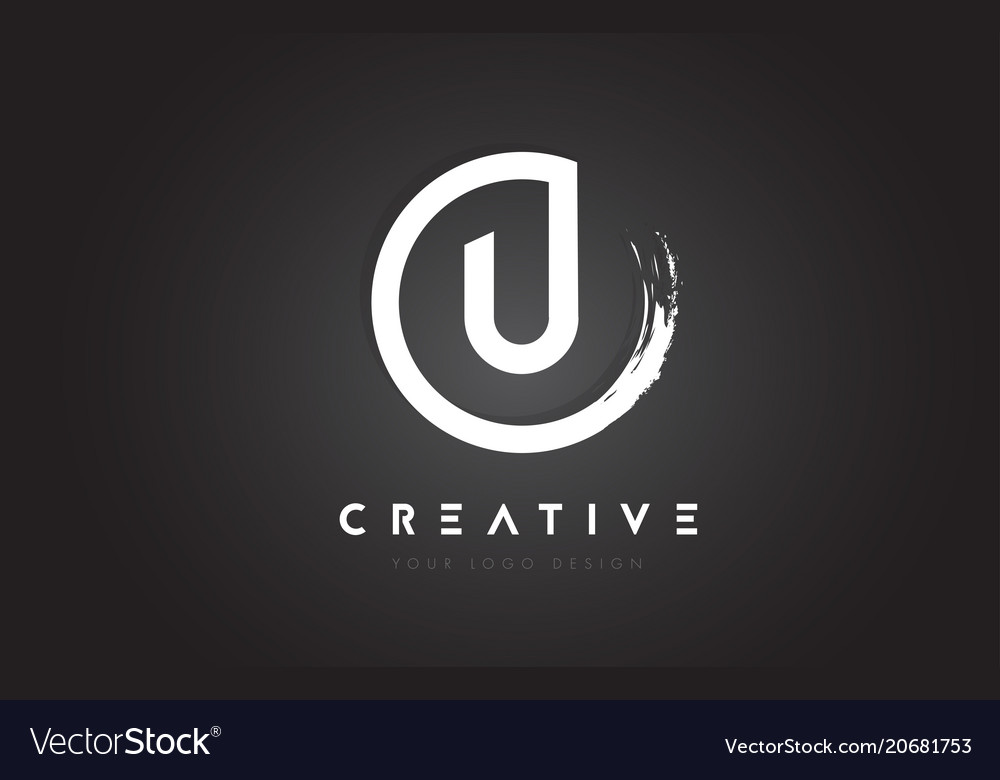 U circular letter logo with circle brush design