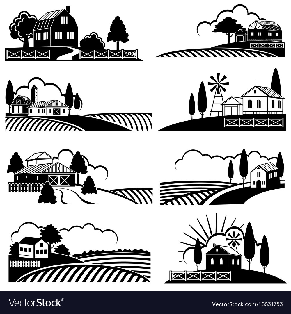 Vintage countryside landscape with farm scene