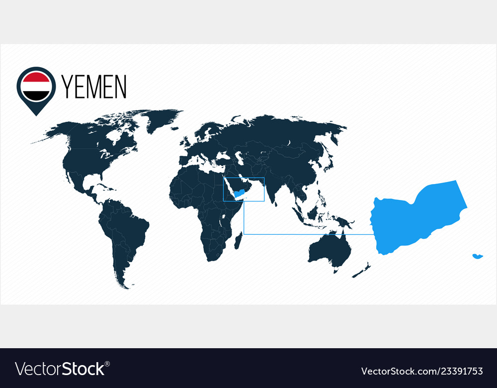 Location Of Yemen On World Map.Yemen Location On The World Map For Infographics Vector Image