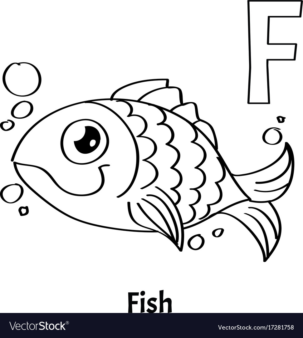Alphabet letter f coloring page fish Royalty Free Vector