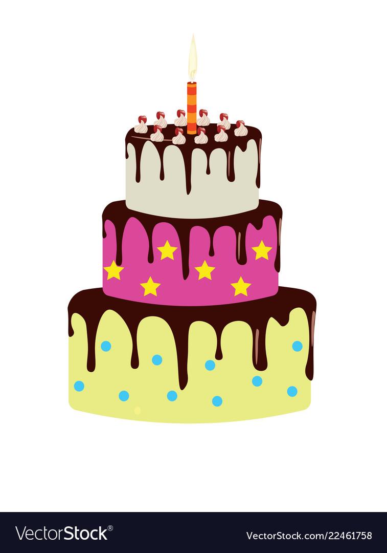 Remarkable Big Birthday Cake Royalty Free Vector Image Vectorstock Funny Birthday Cards Online Alyptdamsfinfo