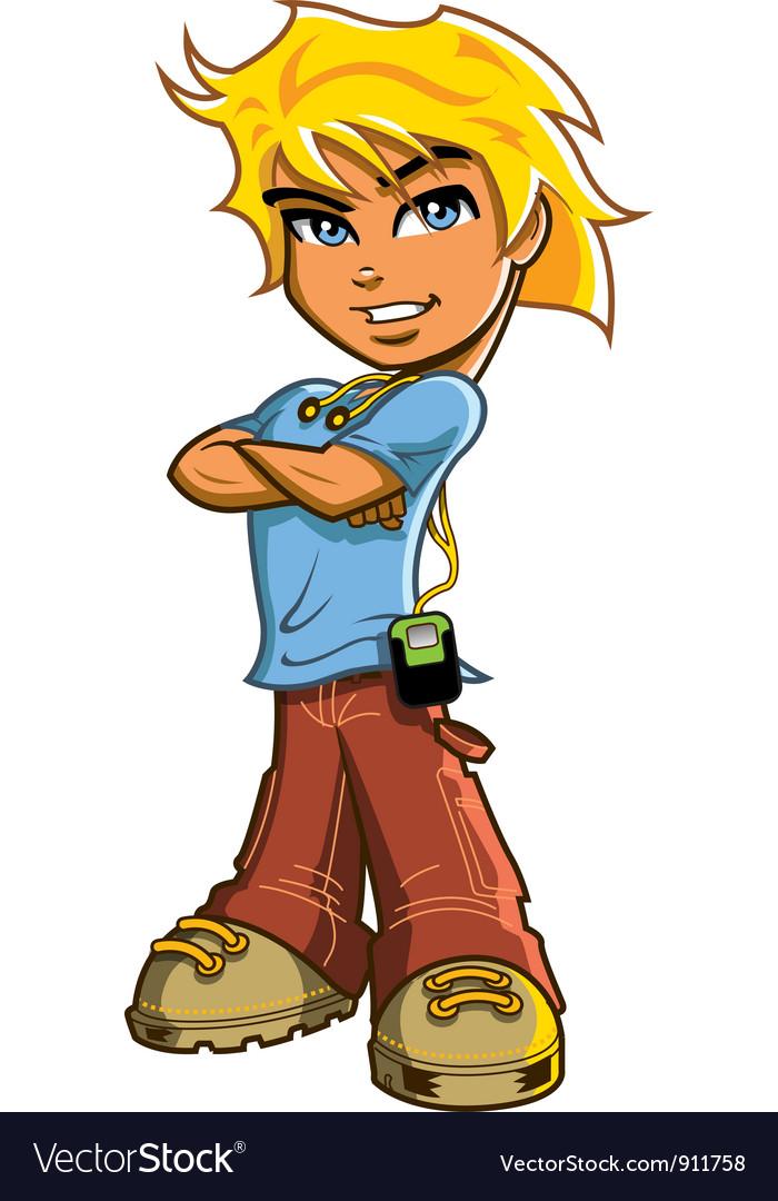 Blonde Boy With Headphones vector image