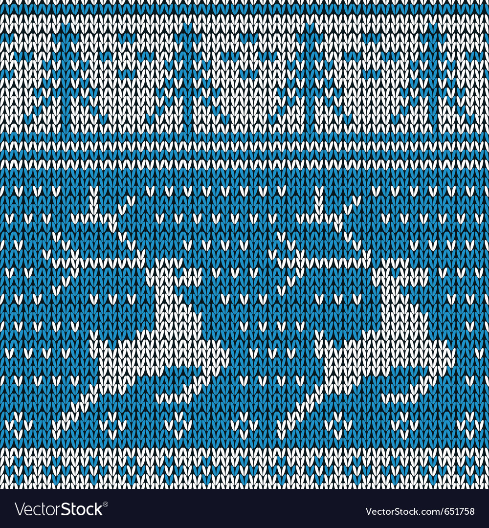 Blue knitted background with the deer