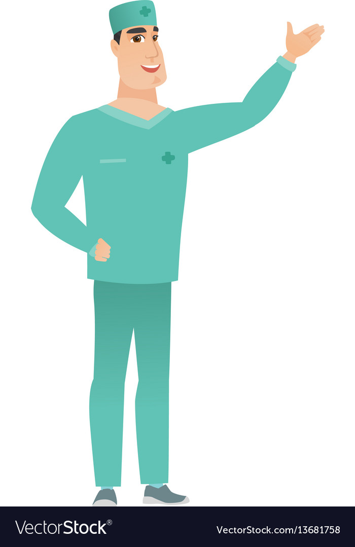 Caucasian doctor showing a direction vector image