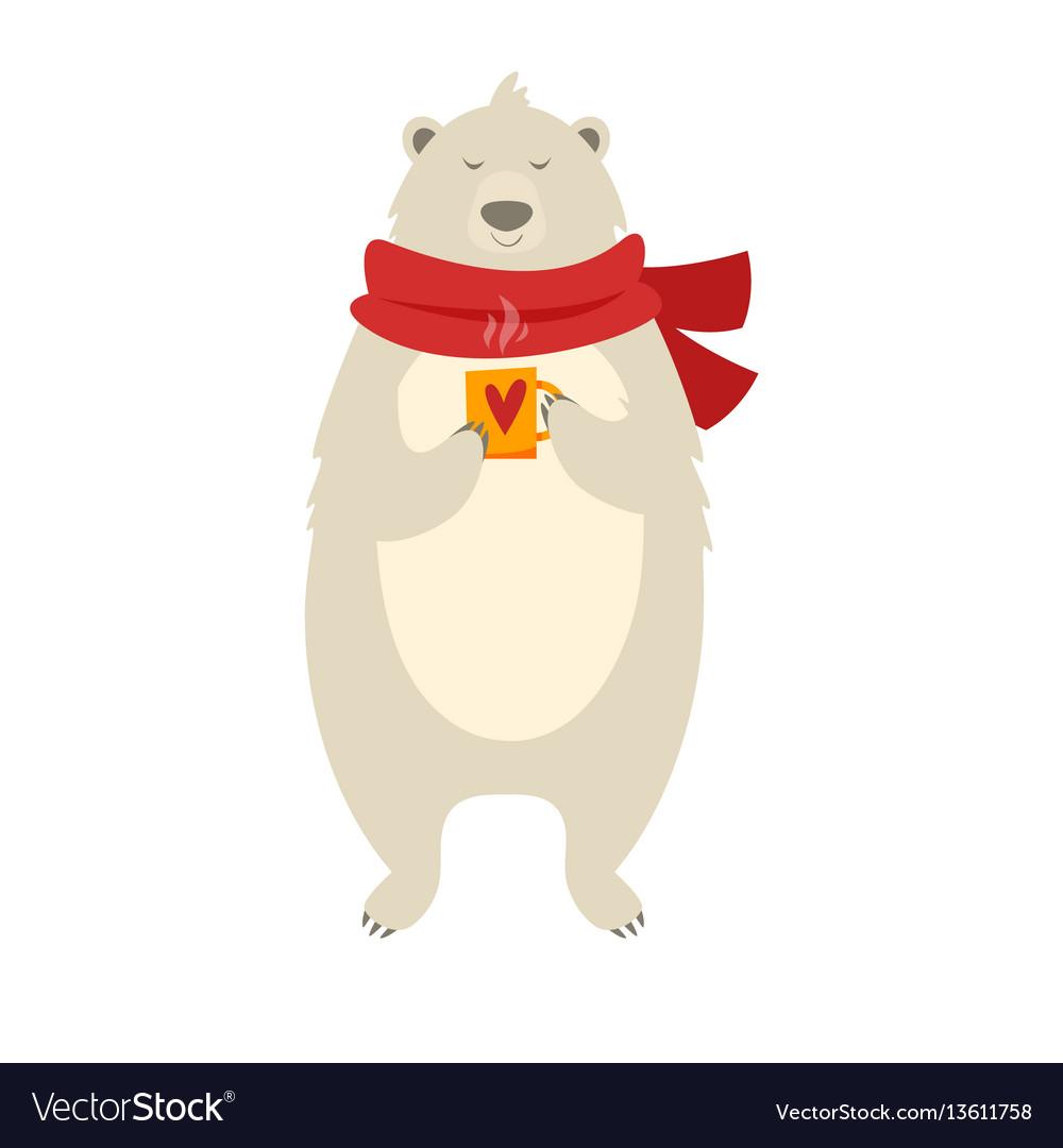 Christmas polar bear with cup vector image