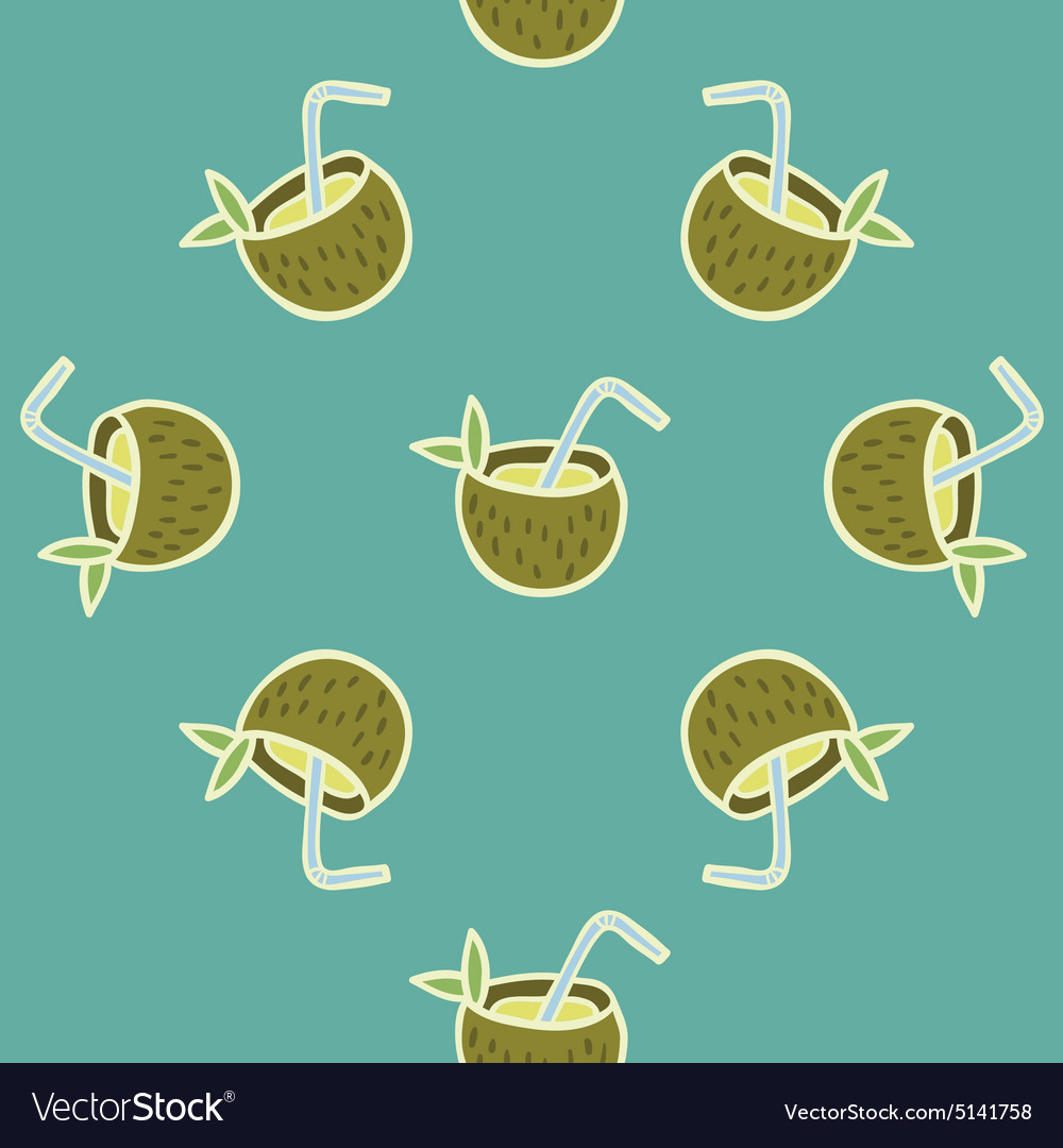 Coconut Beach Drink seamless pattern vector image
