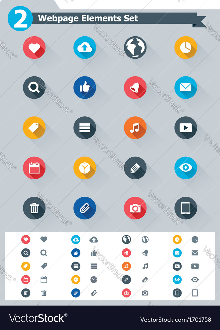 Flat webpage elements icon set