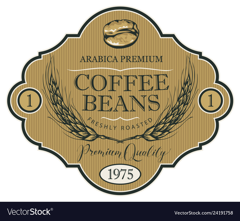Label for coffee beans with wheat ears