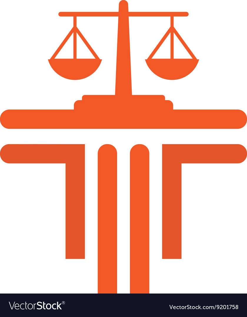 Law balance symbol justice scales icon on stylish