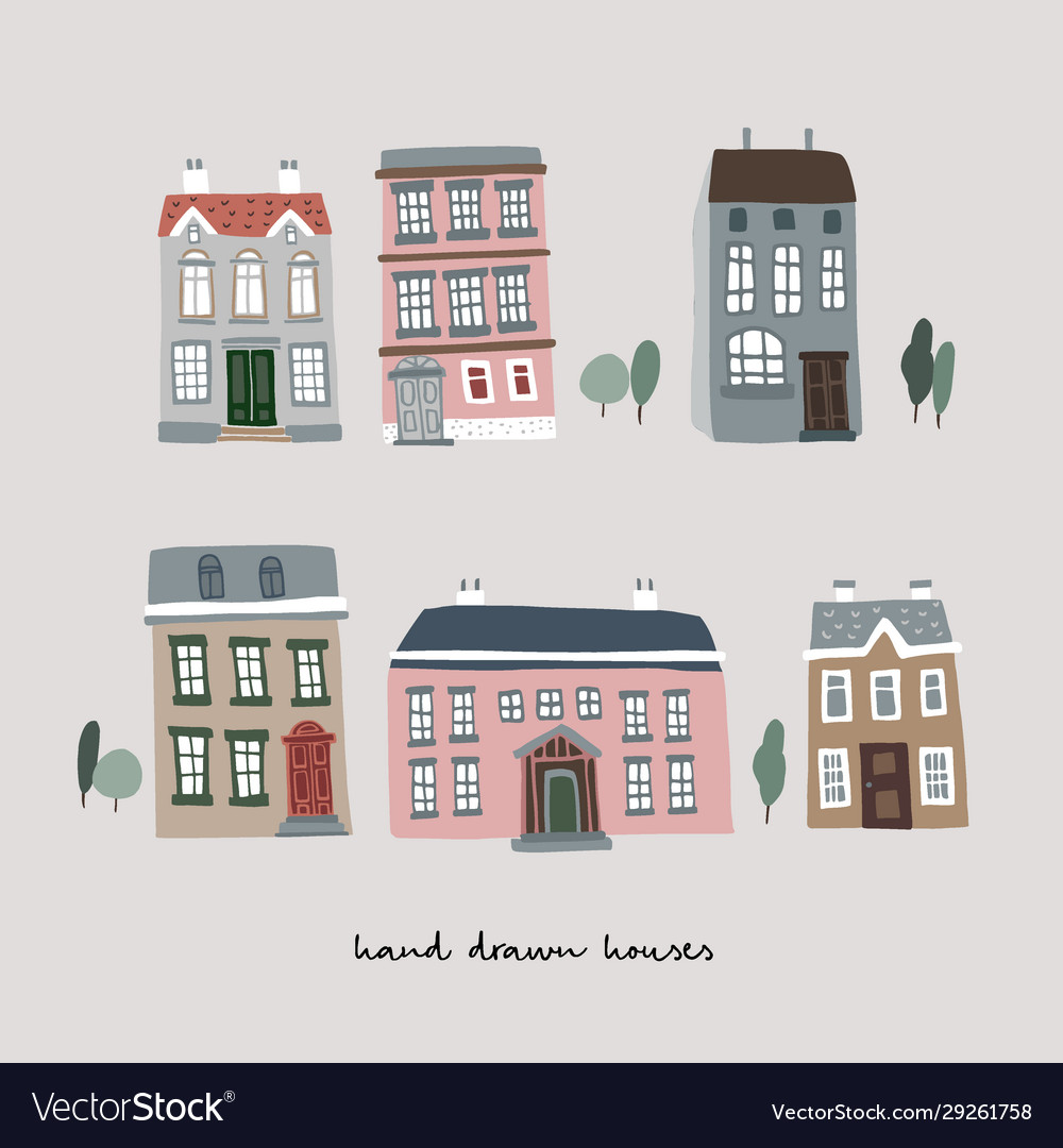 Set hand drawn colorful old houses real estate