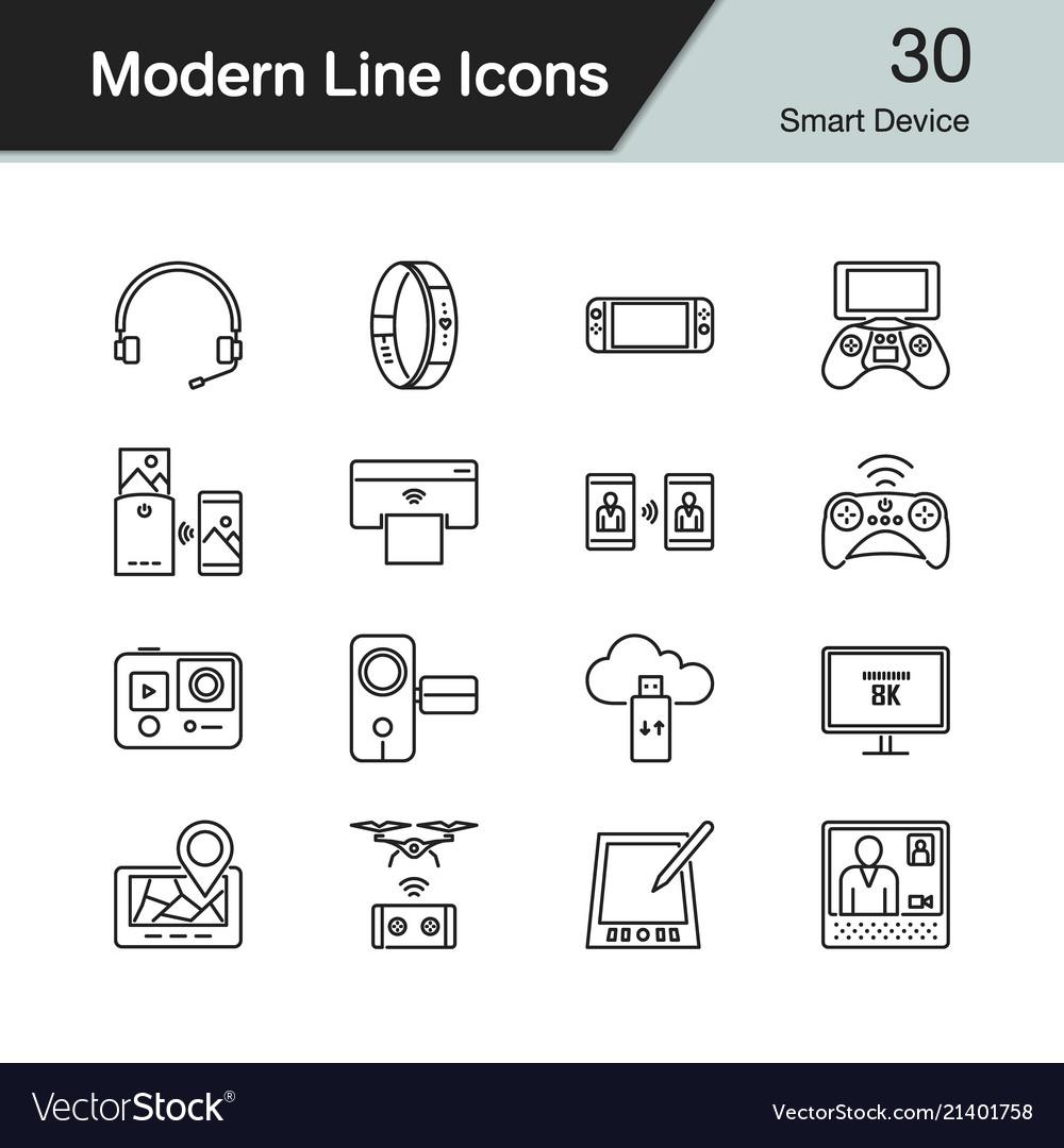Smart device icons modern line design set 30