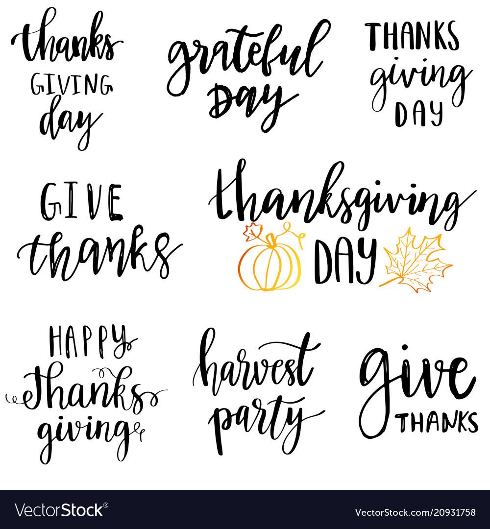 Thanksgiving day typography set