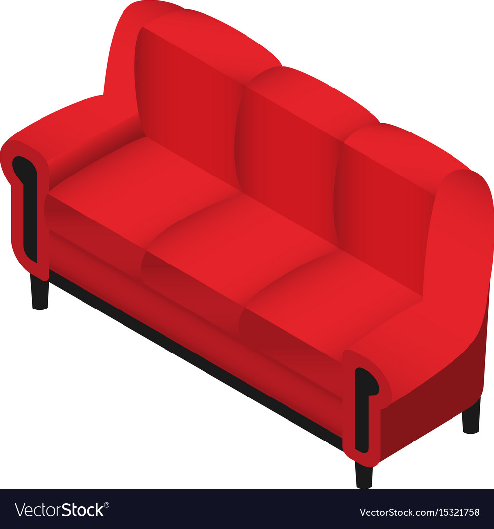 Trendy isometric red sofa 3d furniture for