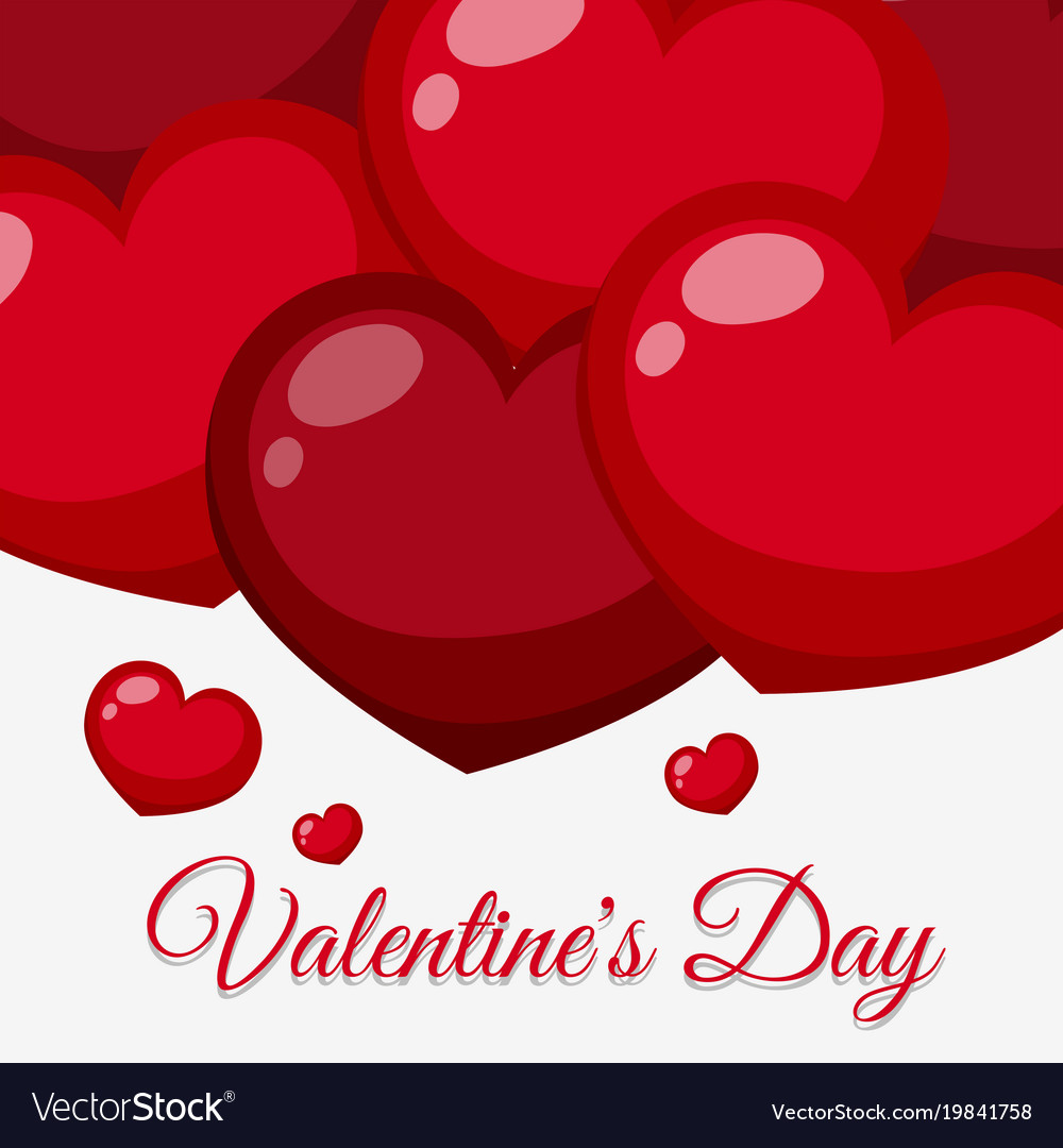 Valentine card template with red shiny hearts vector image maxwellsz