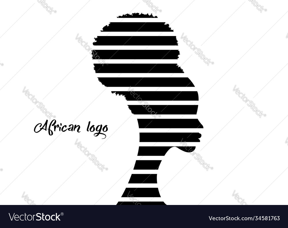 African american woman face profile hairstyle logo