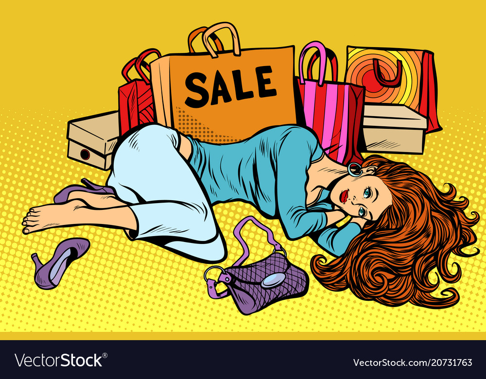 Beautiful woman after sale vector image