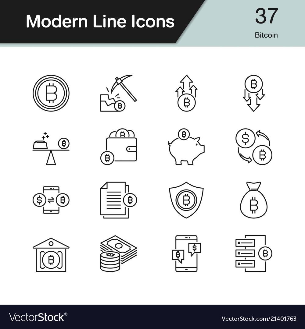 Bitcoin icons modern line design set 37 for